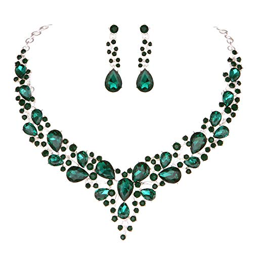 Molie Youfir Bridal Austrian Crystal Necklace and Earrings Jewelry Set Gifts fit with Wedding Dress (Green)
