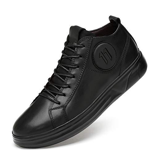 WOJIAO Bottes Courtes en Cuir Décontractées pour Hommes Chaussures à Lacets Hautes Noires Oxford(Noir-Single 43 EU)