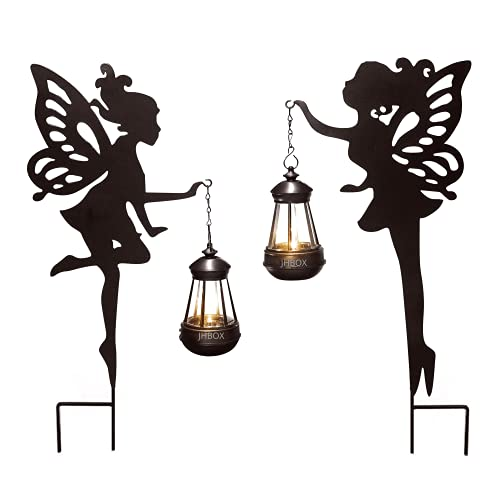 JHBOX Fairy Garden Statue with Solar Lights 2 Pack, Metal Fairy Door Decoration with Ground Stakes,...