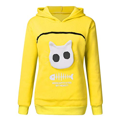 HOTHONG Hoodie Sweat-Shirt Femme Chemisier Hauts Animal Pouch Pullover Top Sweatshirt Respirant des Animaux Grande Poche pour Chiens Chats Pull