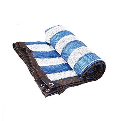 Wangczyw lampenkap van stof, zonwering, UV-bescherming, schaduw net tuin bloemen greenhouse pets blauwe strepen (kleur: blauw + wit strepen, maat: 5,8 m x 9,8 m)