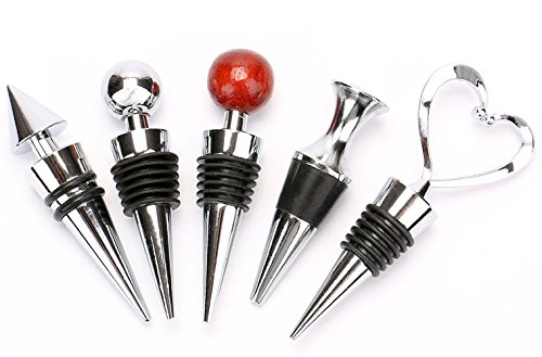 Bekith Zinc Alloy Bar Tools Wine Plug Wine & Beverage Bottle Stopper,Set of 5