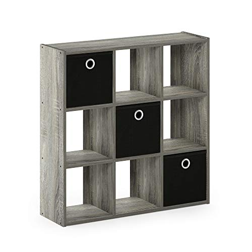 Furinno 13207GY/BK Simplistic 9-Cube Organizer with Bins, French Oak Grey/Black