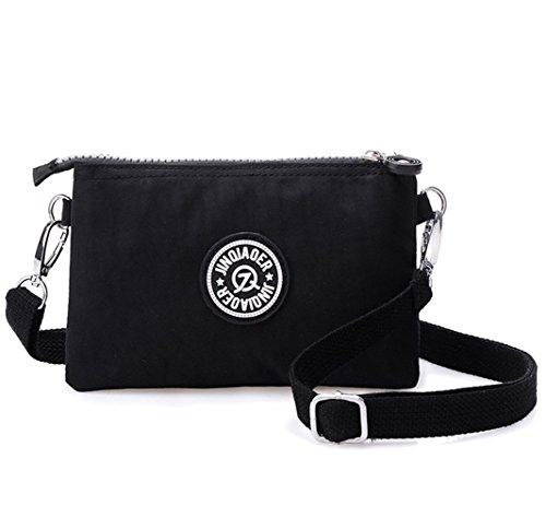 Damen-Handtasche von Tiny Chou, 3 Reißverschlussfächer, wasserfestes Nylon, mit Schulterriemen, Schwarz - Schwarz  - Größe: Small