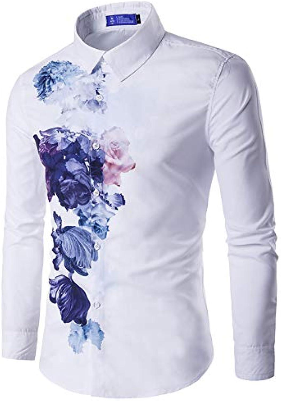 Men's Cotton Shirt  Floral Long Sleeve