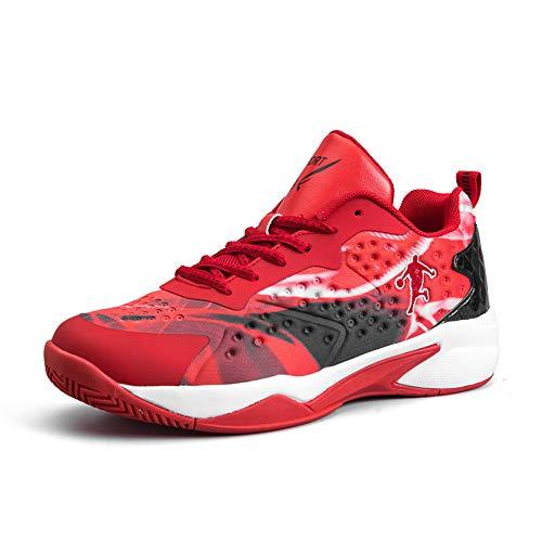 CXQWAN Les Formateurs Non-Slip Homme, Chaussures de Basket-Ball Haute Performance Choc Chaussures de Course pour intérieur et extérieur en Plastique Cour Venues ou marchepieds,Rouge,42