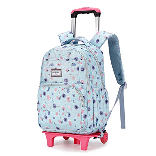 Unisex Kids cartoon pictures Trolley Rolling Backpack Book Bag for Primary 6 Wheels-A-2wheel
