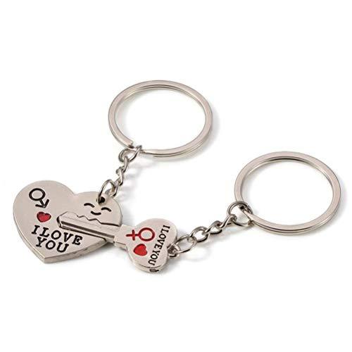 Surenhap Llavero de corazón con texto 'I Love You' para amantes de la pareja.