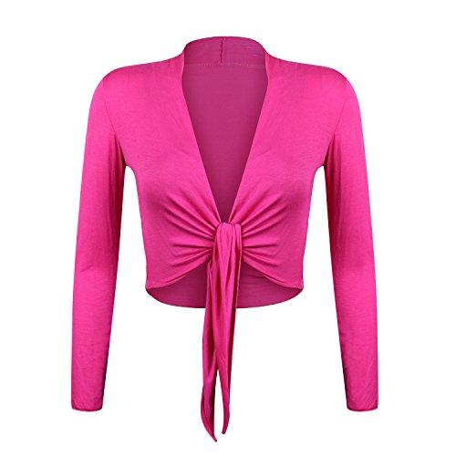 Glamexx24 Damen elegante Bolero Jäckchen Langarm Achselzucken Strickjacke BL0001, Pink, XL
