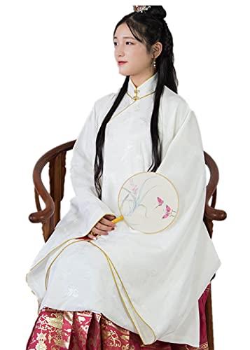 Hanfu for women traditional chinese dress for women women Wide Sleeve Big Sleeve Shirt Hanfu Coat (White, Medium)