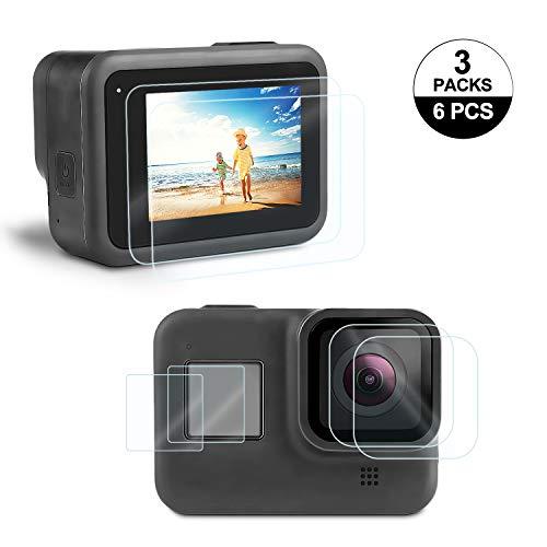 Rhodesy Displayschutzfolie für GoPro Hero 8 Schwarzer Bildschirm und Linse, Ultraklare Hartglas-Displayschutzfolie + Linsenschutzfolie Zubehör [6PCS]