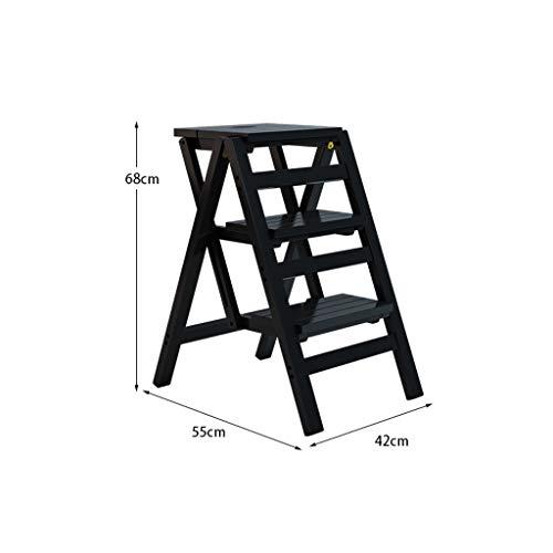 T-T-T-DENG houten trappenkast, multifunctionele huishoudelijke ladders, 3/4 lagen, klimmen opvouwbare kruk, rek planken Plant - voor opslag en decoratie