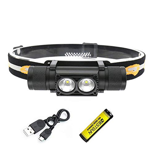 BESTSUN 1000 Lumen Headlamp Rechargeable, Bright Headlamps Flashlight 2x XML-L2 LED Head Torch, Lightweight & Dimmable, Removeable Headlight for Camping Fishing Caving / 2800mAh Battery Included