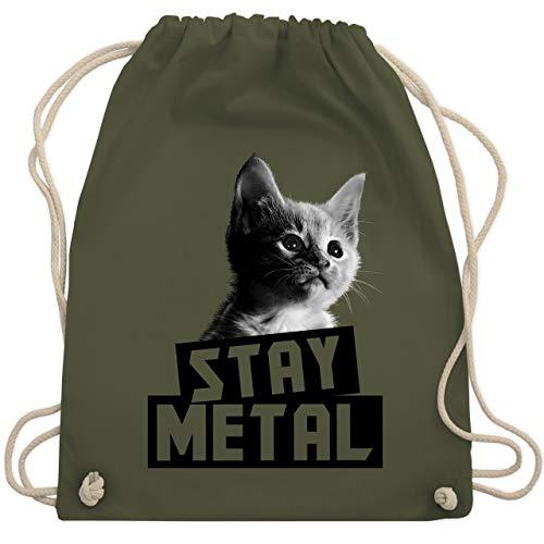 Shirtracer Metal - Stay Metal Katze - Unisize - Olivgrün - lila katze - WM110 - Turnbeutel und Stoffbeutel aus Baumwolle