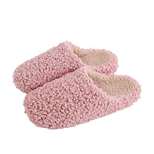 AduMTX Frauen-Baumwolle Hausschuhe Winter-Interior Plus Velvet to Warm Anti-Rutsch-Starke untere Teddy Locken Paar Hausschuhe halten (Color : Pink, Size : M)