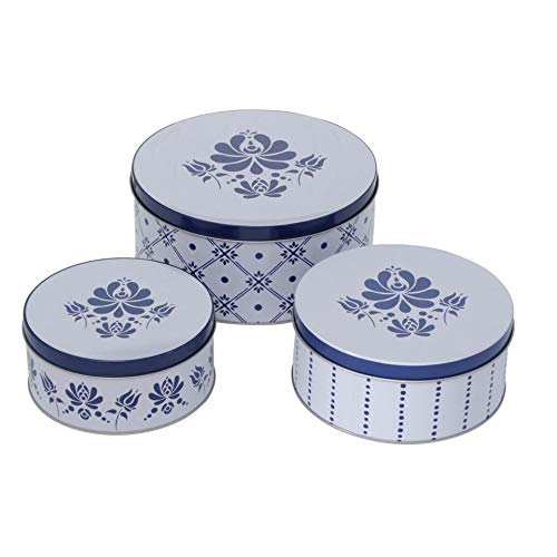 CasaJame - Juego de 3 cajas de metal para galletas, diseño