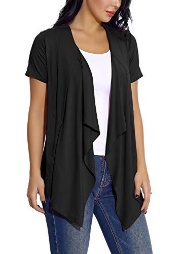 EXCHIC Damen Cardigan mit offener Vorderseite Unregelmäßiger Saum Kurzarm-Outfits (XL, Schwarz)