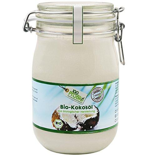 100ProBio Kokosöl nativ -100% reines Kokosöl- kaltgepresst & naturbelassen (1000ml Bügelglas)