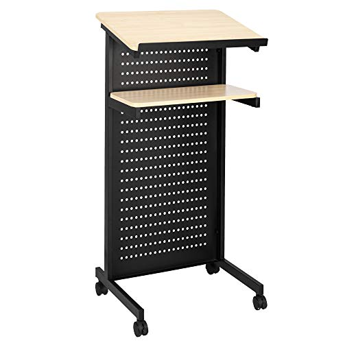 Bonnlo Mobile Wheeled Lectern Standing Podium, Portable Lecture Speech Teach Platform for Classroom Church or Ceremony, Multi-Function Reading or Laptop Desk, Table w/Tilted Top Board & Edge Stopper