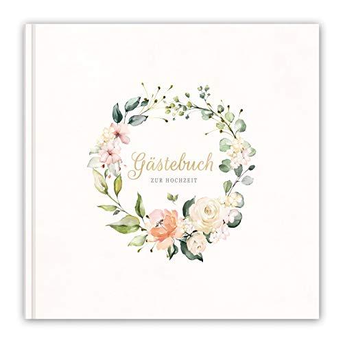 LifeDesign Hochzeitsbuch, Gästebuch zur Hochzeit, 21x21cm, Hardcover, Stabile Fadenbindung