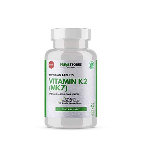 Vitamin K2 (MK7) Bone Conditioning Pills 100mcg - 60 Organic Vegan Tablets - High Strength Halal Vegetarian Metabolism Supplement Pills by Primestores