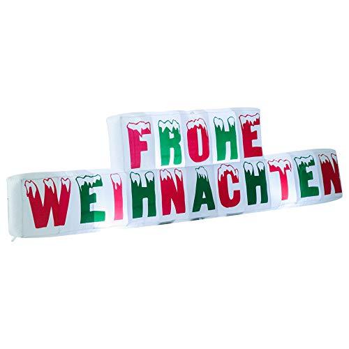 HOMCOM Weihnachten Weihnachtsdeko aufblasbar Frohe Weihnachten Schriftzug Beleuchtet LED XXL