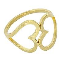 ステンレス リング(106)ツインハート 金色 指輪 金属アレルギー対応 レディース メンズ