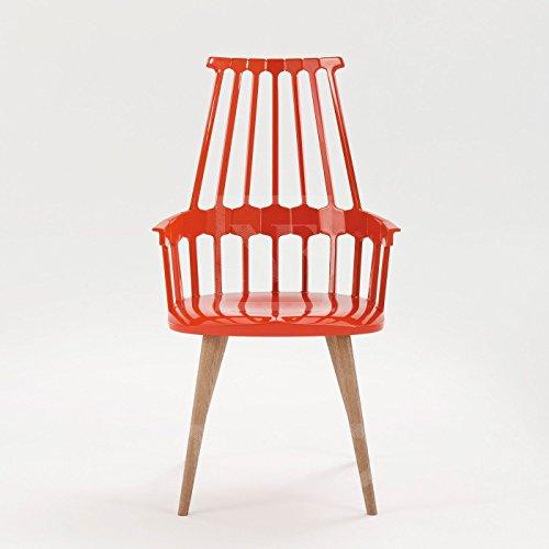 Kartell 595499 Comback Stuhl vier Holzbeine 58 x 100 x 50 cm Sitzhöhe 48,5 cm Sitzflächenfarbe, Gestell Eiche, schwarz