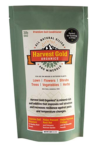 Harvest Gold Organics - Organic Soil Conditioner, Natural Soil Amendment for Houseplants, Flowers, Lawns, Gardens and Trees, Provides Natural Silica and Micronutrients for Plants (3 Pound Bag)