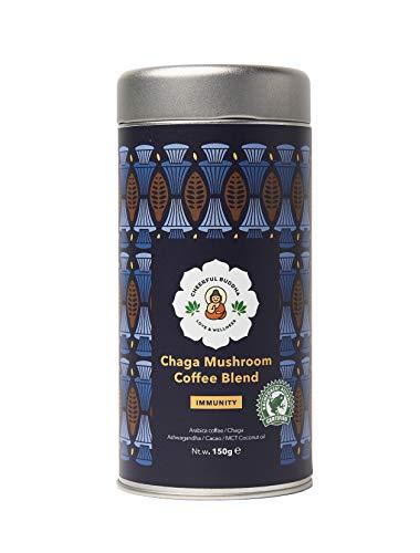 Cheerful Buddha Chaga Svamp Kaffeblandning - 100% Naturligt Premium Svampkaffe utan Konserveringsmedel - RFA-Certifierat Smaksatt Kaffe utan GMO - Veganadaptogent Svampkaffe -