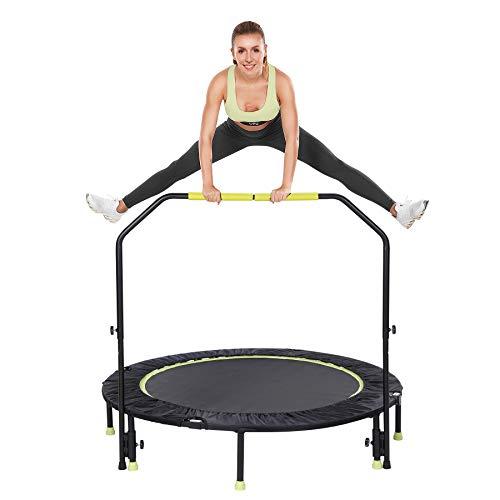 Gulujoy Trampolin Fitness Plegable, Cama Elastica Interior con Barra para Adultos y Ninos Redonda 127CM, Capacidad 400kG
