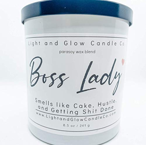 Boss Lady | Lemon Pound Cake Scent | Light and Glow Candle Co. | Hand Poured in The USA | Highly Scented & Long Lasting | 8.5 Oz.| 50 Hour Burn Time, Made in the USA