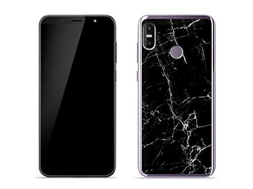etuo Handyhülle für HTC U12 Life - Hülle Fantastic Case - Schwarze Marmor - Handyhülle Schutzhülle Etui Case Cover Tasche für Handy