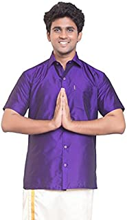 THANGAMAGAN Mens Shirt V Blue Size 40