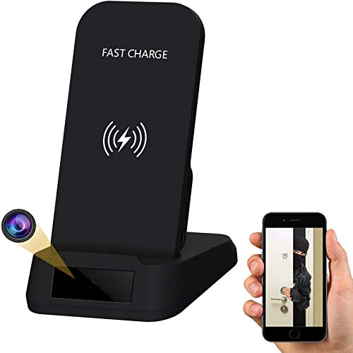 Hidden Spy Camera - Wireless Phone Charger, 1080P WiFi Spy Nanny Cam,Motion Detection Alert with...