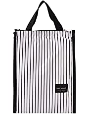 Hengxing Draagbare Tote Oxford Doek Picknick Koele Zak Vouwen Gedrukte Koelere Handtas, Zwarte en Witte Stre