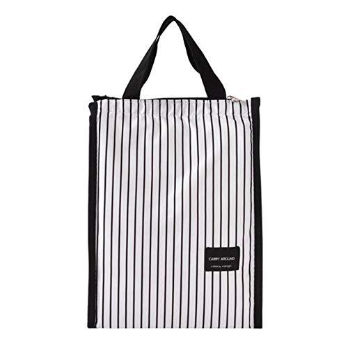 Figutsga Lunch Box Tote Cooler Bag Faltbare bedruckte Cooler Handtasche für Männer Frauen Erwachsene Kinder,Schwarz-Weiß-Streifen