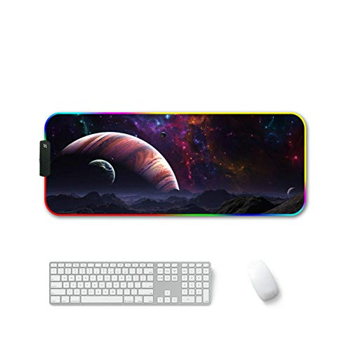 RGB Gaming Mouse Pad Cosmic Planet Mars Large XXL LED Lighting 14 Modes Mouse Mat for PC Computer Gamers-27.6x11.8 in