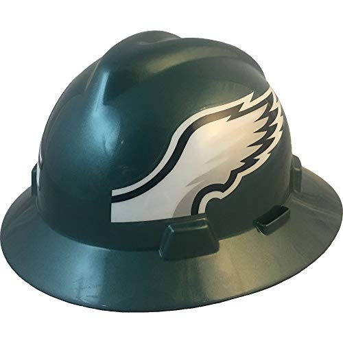 "MSA 10194778 NFL V-Gard Full Brim Hard Hat, Philadelphia Eagles, Standard (61 ?2 – 8"")"