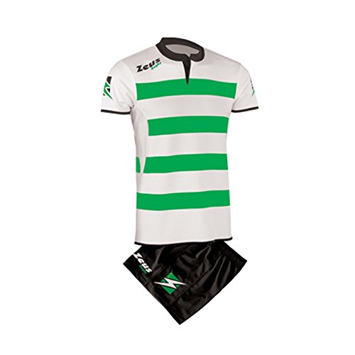 Zeus Herren Kinder Rugby Spieltrikots Set Trikot Shirt Shorts Hosen KIT RECCO (3XL, GRÜN-WEISS-SCHWARZ)