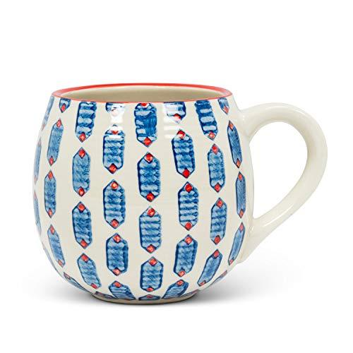 Abbott Collection 27-MOMA-334-MUG Tasse mit sechseckigen Kugeln, 12,7 cm lang, Elfenbein/Blau