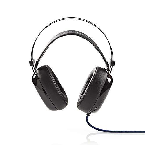 Nedis - Gaming-Headset - Over-Ear - Ultra-Bass - LED-Licht - 3,5-mm- und USB-Anschlüsse - Schwarz