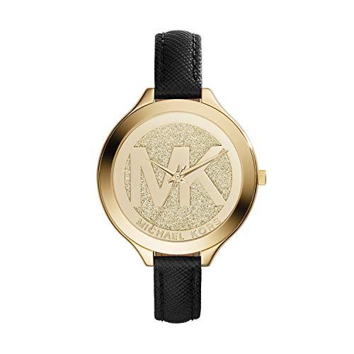 Michael Kors Damen Analog Quarz Uhr mit Leder Armband MK2392