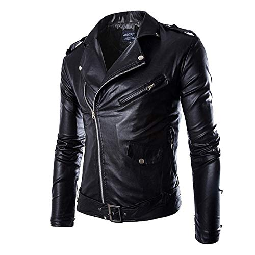 HNOSD Autumn Men Fashion Motorrad Lederjacke Slim Fit Mäntel Malemasculino Casual Zipper Schwarze Jacke Black AM