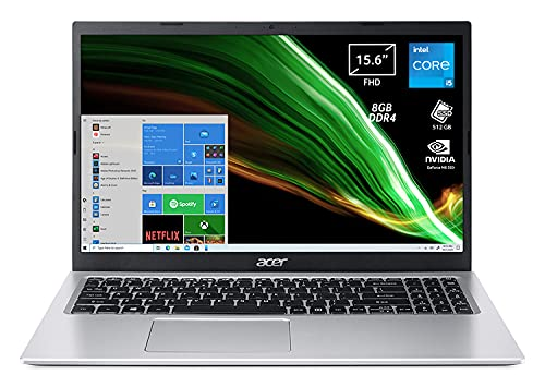 Acer Aspire 3 A315-58G-5450 PC Portatile, Notebook con Processore Intel Core i5-1135G7, RAM 8 GB DDR4, 512 GB PCIe NVMe SSD, Display 15.6  FHD LED, NVIDIA GeForce MX350 2 GB, Windows 10 Home, Silver