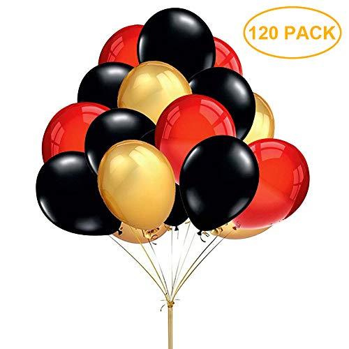 """Globos de rojo, negro y dorado Globo de fiesta 12"""" para boda, cumpleaños, baby shower, graduación, decoraciones de fiesta de ceremonia (120 piezas)"""