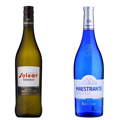 Manzanilla Solear y Maestrante Semidulce - D. O. Manzanilla de Sanlúcar de Barrameda y Vino de la Tierra de Cádiz - Vinos de Barbadillo - 2 botellas de 750 ml