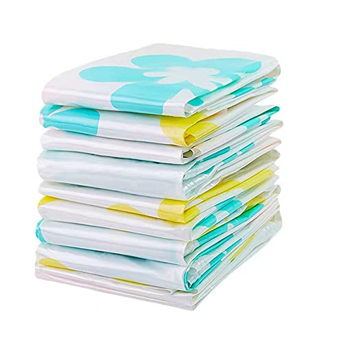 YIXINYOUPIN Bolsas de almacenamiento al vacío, paquete de 6 unidades, reutilizables, con cierre doble y válvula de escape, bolsas de almacenamiento para ropa de cama, mantas (sin bomba de mano)