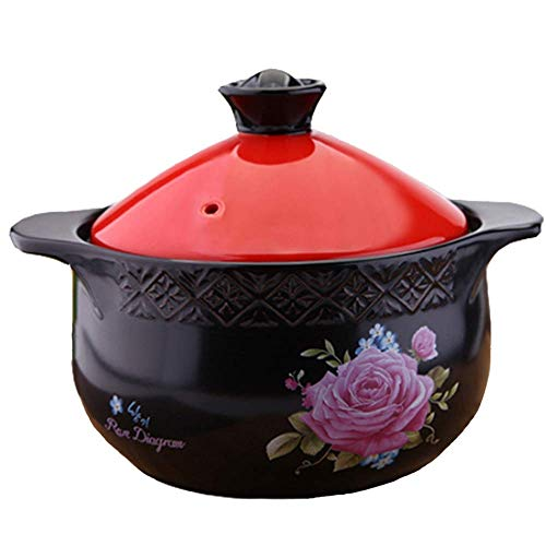 WEHOLY Casserole Household Printing Rehaussement Casserole/Pot de ragoût Anti-brûlure résistant à la Chaleur Anti-brûlure/Grande capacité/Pot de Pierre avec Flamme Nue (Couleur: Rouge, Taille: 3L)
