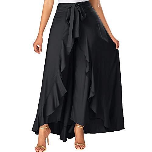 FELZ Falda Larga Mujer Falda Mujer Fiesta Falda para Mujer Cremallera Lateral Corbata Superposición Frontal Pantalones Falda con Volantes Arco Falda Larga
